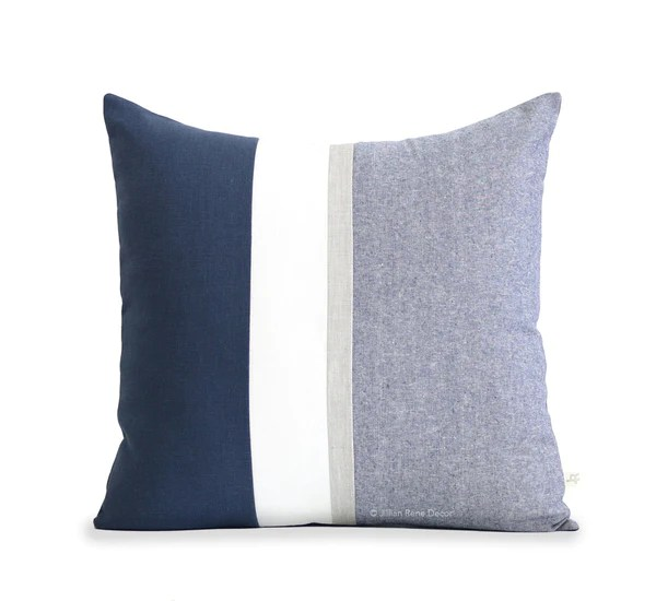 Navy Chambray Pillow with Metallic Silver Stripe by