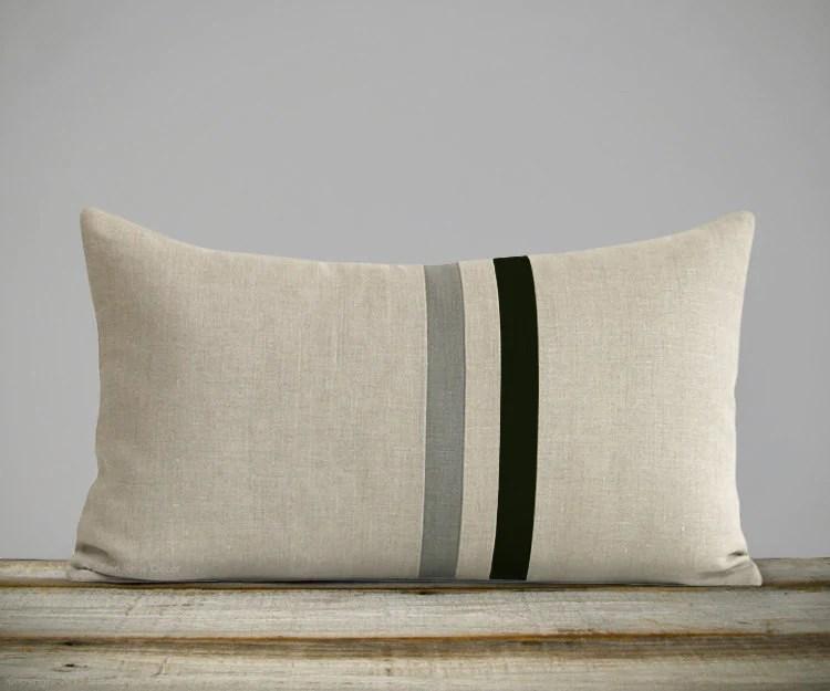 striped lumbar pillow black stone grey and natural linen