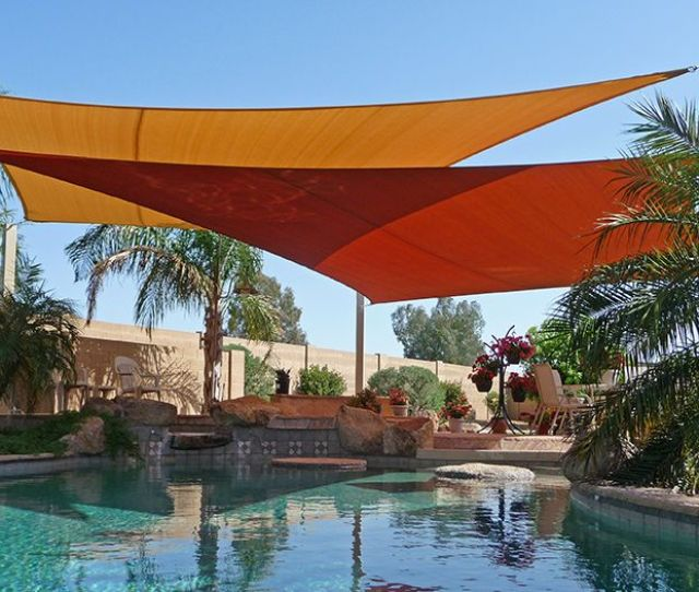 Custom Residential Shade Sails Over Swimming Pool
