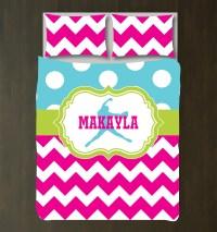 Custom Softball Chevron & Polka Dot Bedding for Girls ...