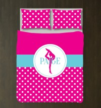 Personalized Gymnastics Polka Dot Bedding  Shop Wunderkinds