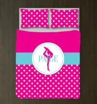 Personalized Gymnastics Polka Dot Bedding  Shop Wunderkinds