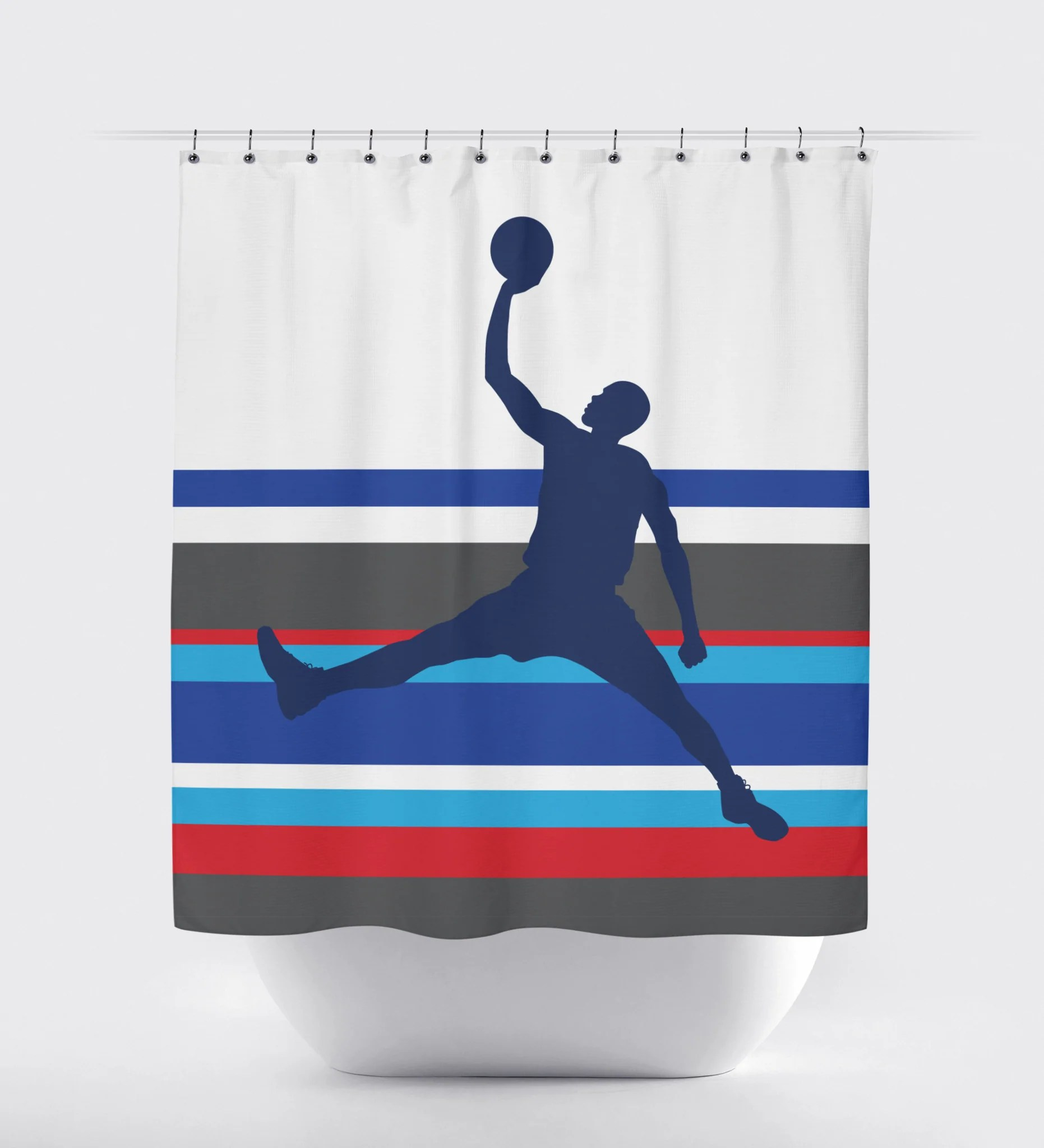 Basketball Multi Striped Shower Curtain Royal Blue Charcoal Red Turquoise Navy And White Choose Any Colors