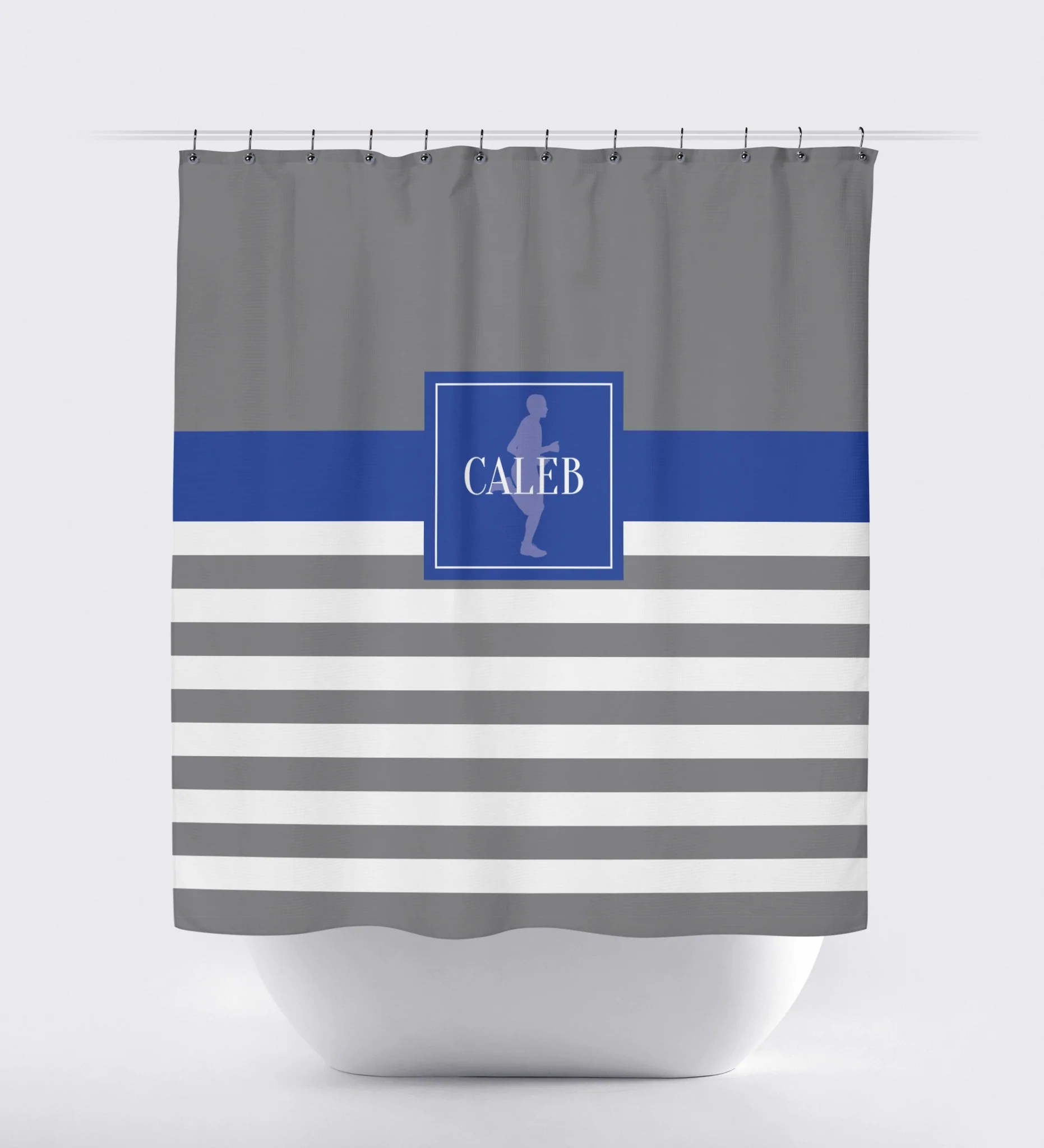 Running Themed Rugby Striped Shower Curtain Male Runner White Titanium Royal Blue Choose Any Colors