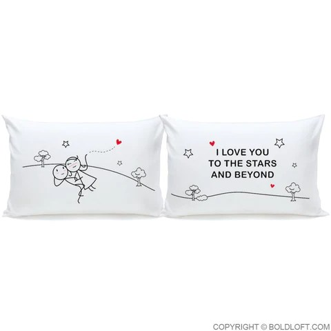 love you to the stars beyond couple pillowcase set