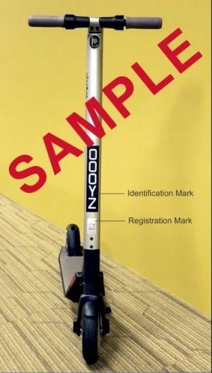 sample of Identification Mark LTA electric scooter registration