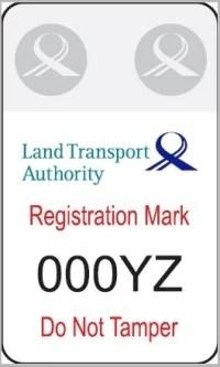 sample of registration mark LTA electric scooter