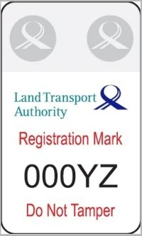 sample of registration mark LTA electric scooter
