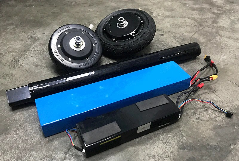 assorted electric scooter motor and lithium ion batteries