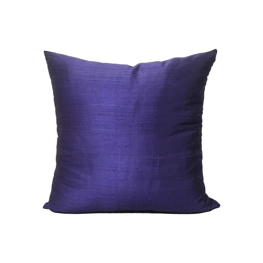 dupioni silk blueberry throw pillow 17x17
