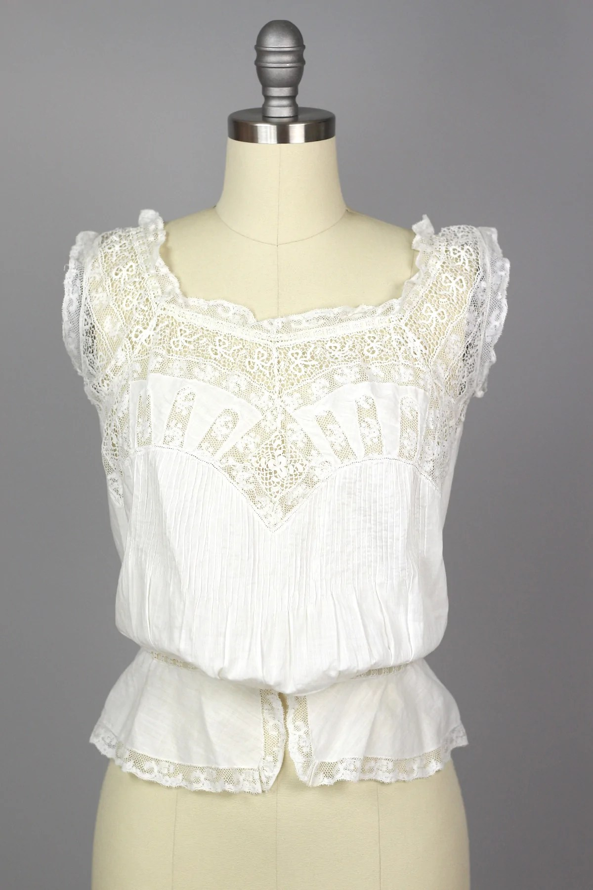Victorian Antique Entirely Handmade White Lace Corset