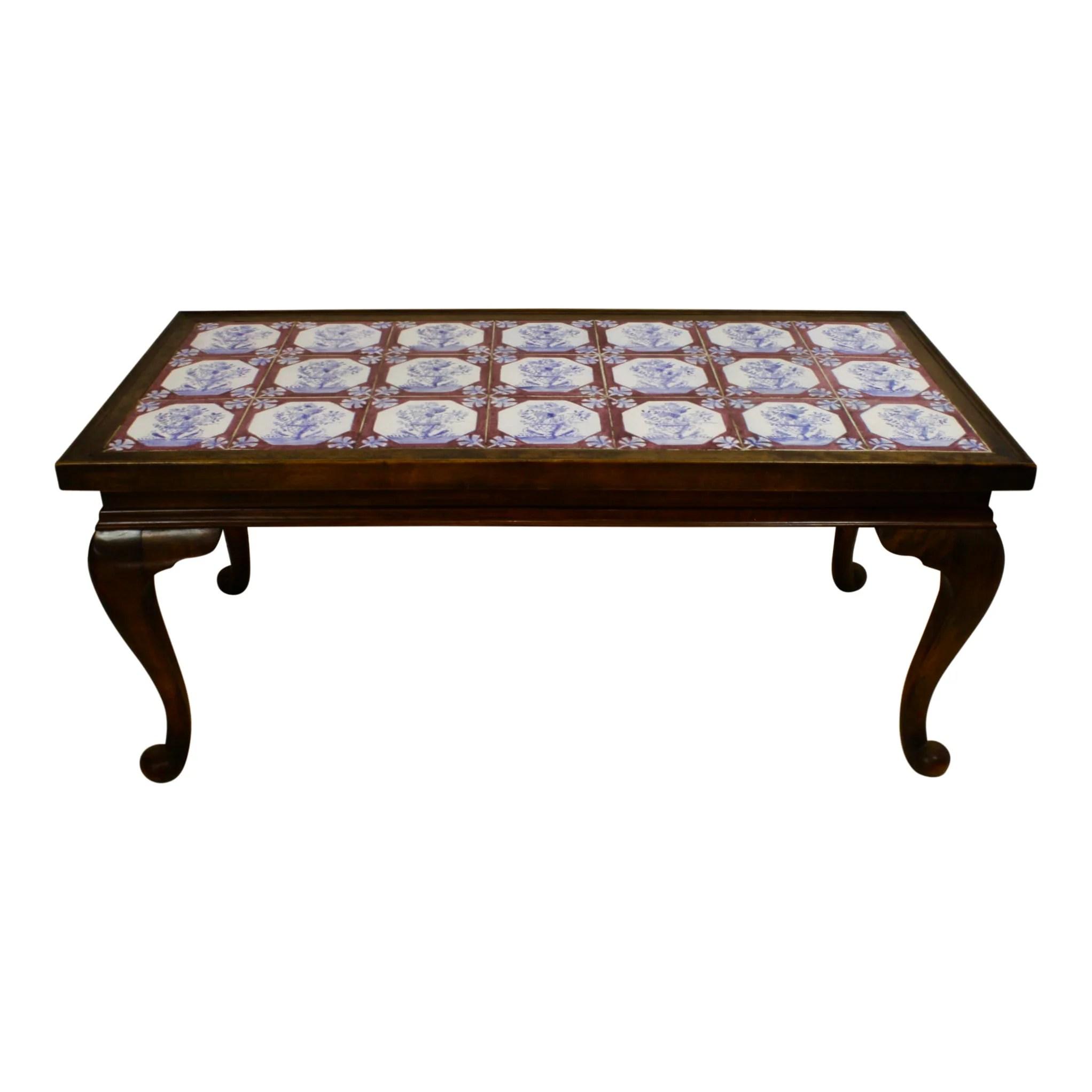 dutch walnut tile top coffee table