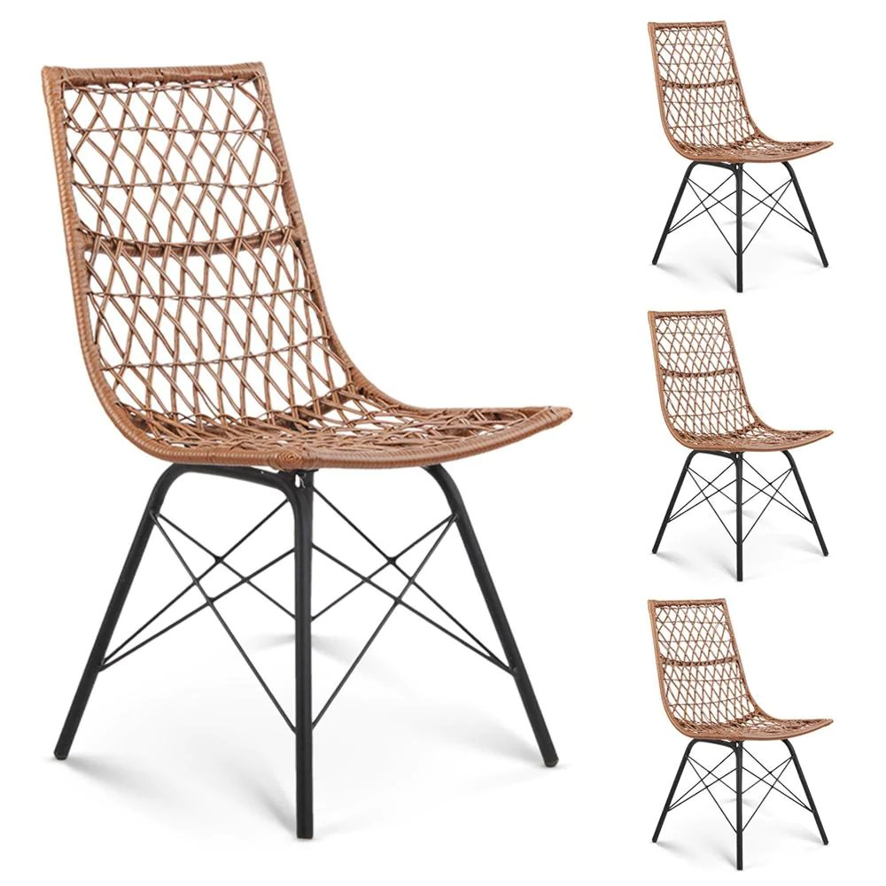 Outdoor Chair Set Vines Rattan Outdoor Chair Set Of 4 Natural