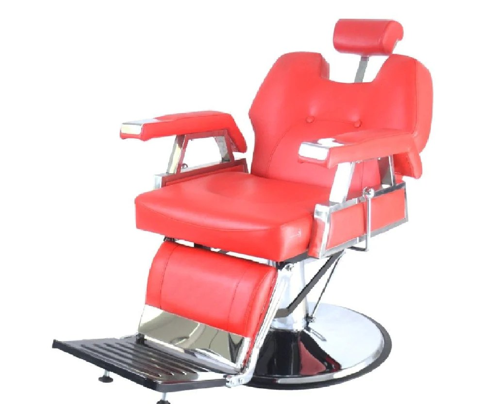 Red Barber Chair Heavy Duty Deluxe Reclining Barber Chair