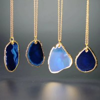 18K GOLD PLATED NATURAL AGATE STONE PENDANT NECKLACE ...