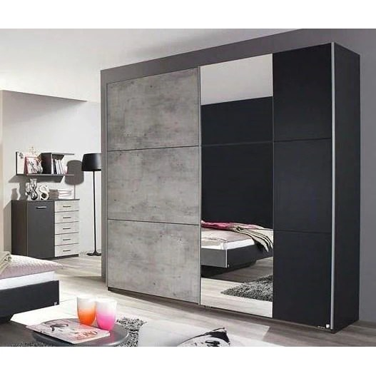 Rauch Lenny Sliding Door Wardrobe Concrete Anth German Bedroom F Freedom Homestore