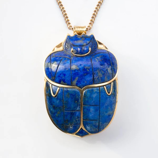 14k And Lapis Lazuli Egyptian Relief Scarab Necklace