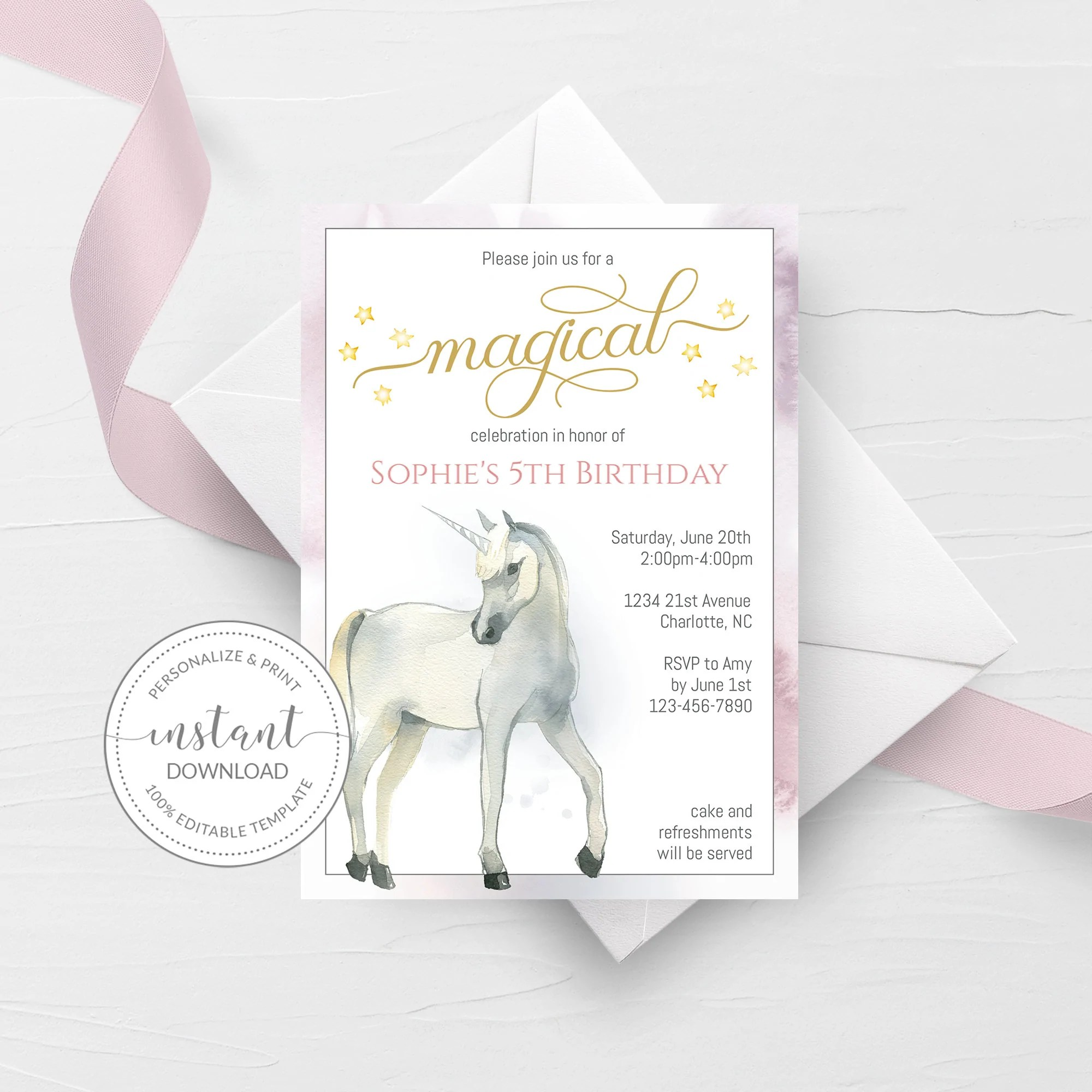 unicorn birthday party invitation template printable magical unicorn invite editable instant download d200
