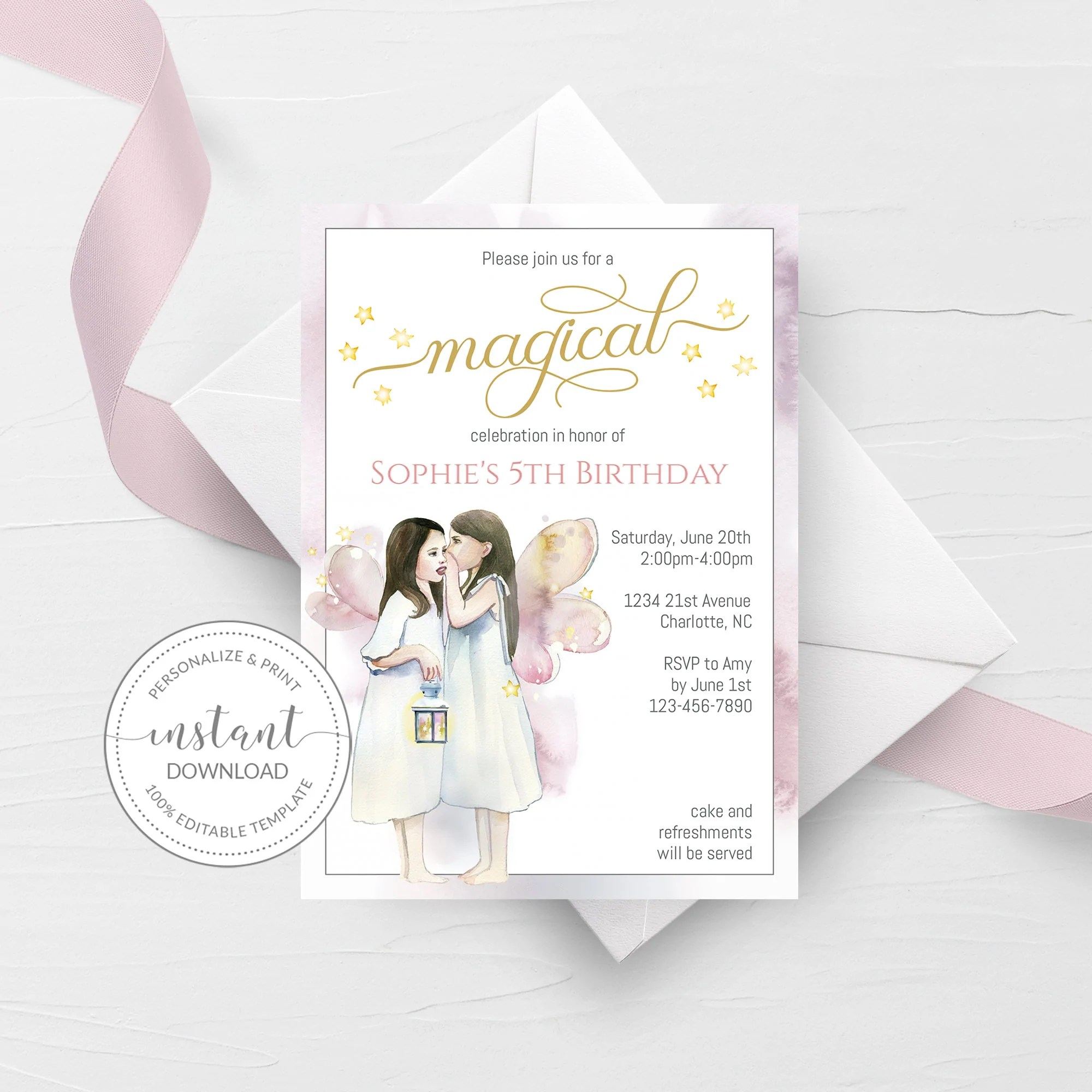 fairy theme birthday invitation suite template printable editable instant download d300