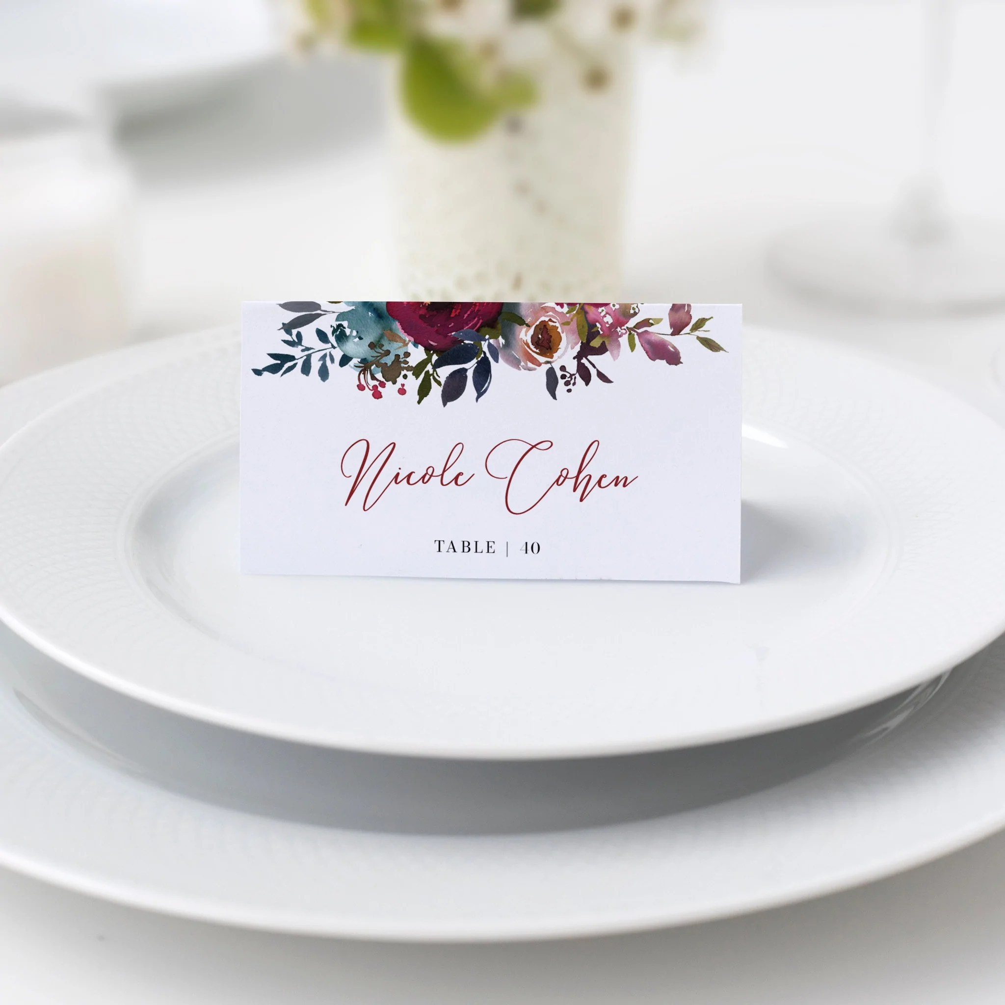 Burgundy And Navy Wedding Place Card Template Personalized Wedding Na Plumpolkadot