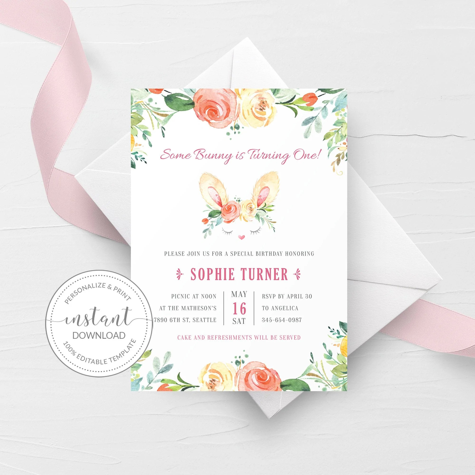 some bunny is one invitation template printable bunny 1st birthday invite easter birthday invite editable instant download b100