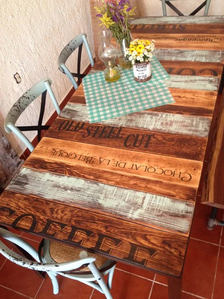 wooden kitchen table salvaged cabinets for sale aqua and burned wood with words unique iron