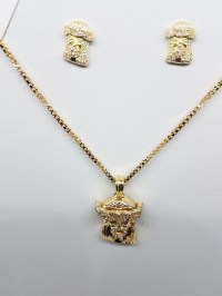 14K Gold Plated Earring Necklace Combo: Jesus Piece With ...