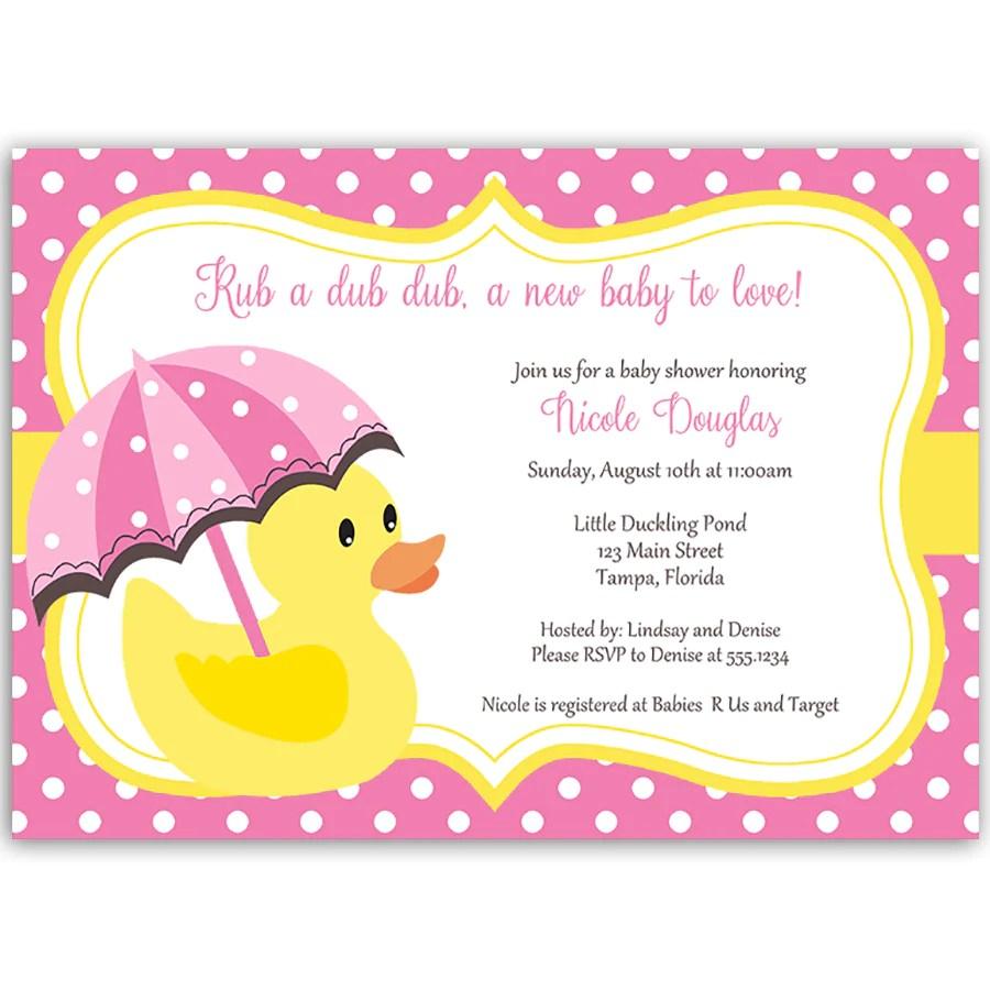 Yellow Duck Baby Shower Invitations