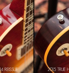 a vintage gibson s body binding will typically have a deeper scraping line for true historic guitars gibson custom has made sure that both of these  [ 1325 x 869 Pixel ]