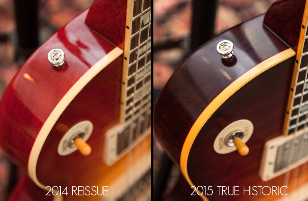 medium resolution of a vintage gibson s body binding will typically have a deeper scraping line for true historic guitars gibson custom has made sure that both of these