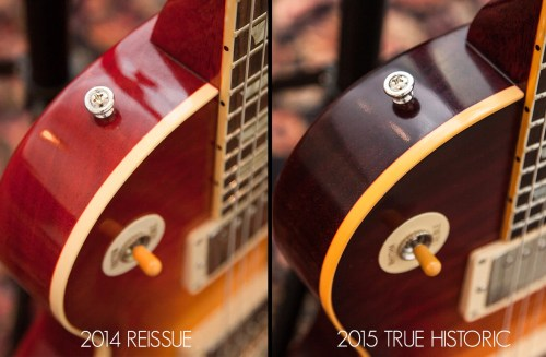 small resolution of a vintage gibson s body binding will typically have a deeper scraping line for true historic guitars gibson custom has made sure that both of these