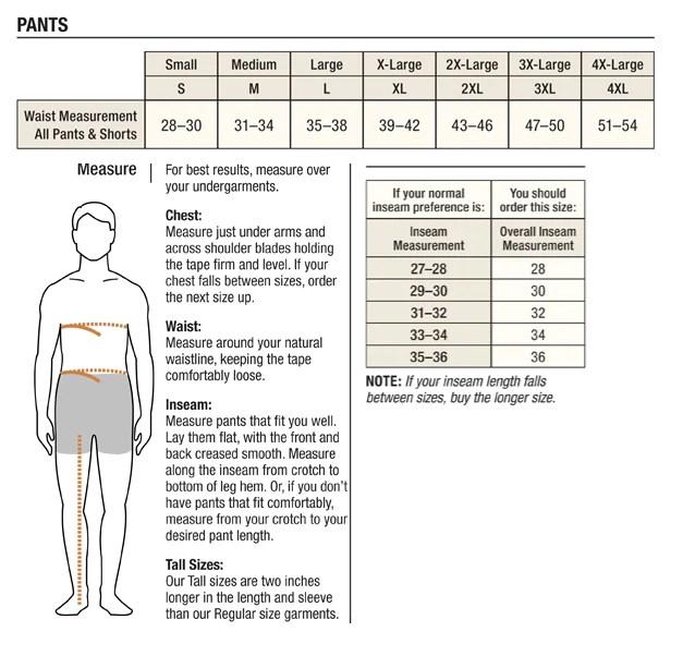 Carhartt men   pants size chart also tomlinson sales company rh tomlinsonsales