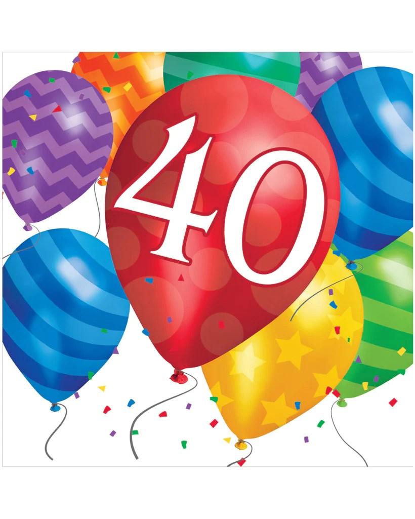 medium resolution of balloon blast 40th birthday 2 ply lunch napkins 16 ct