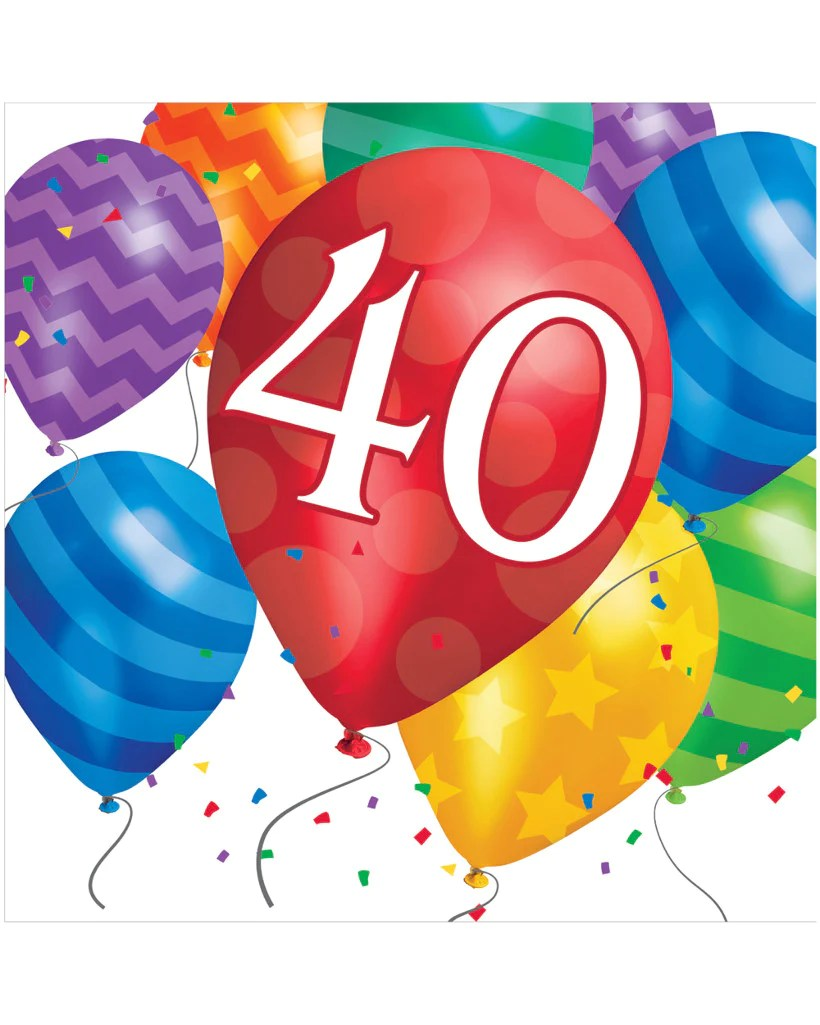 small resolution of balloon blast 40th birthday 2 ply lunch napkins 16 ct