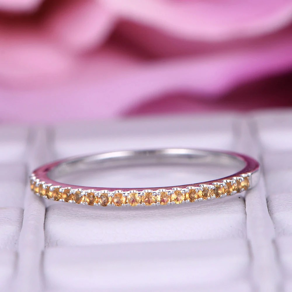 Citrine Wedding Band Eternity Anniversary Ring