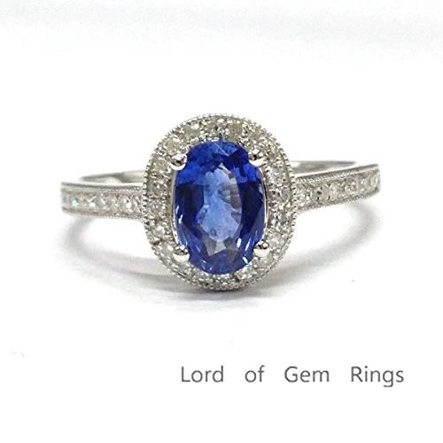 669 Oval Tanzanite Engagement Ring Pave Diamond Wedding
