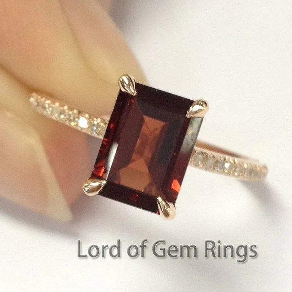 299 Emerald Cut Garnet Engagement Ring Pave Diamond