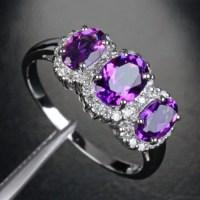 $440 Oval Purple Amethyst Engagement Ring Pave Diamond ...
