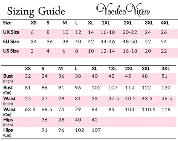 This is an international sizing guide for retro and rockabilly clothing styles from voodoo vixen also size dark fashion rh darkfashionclothing