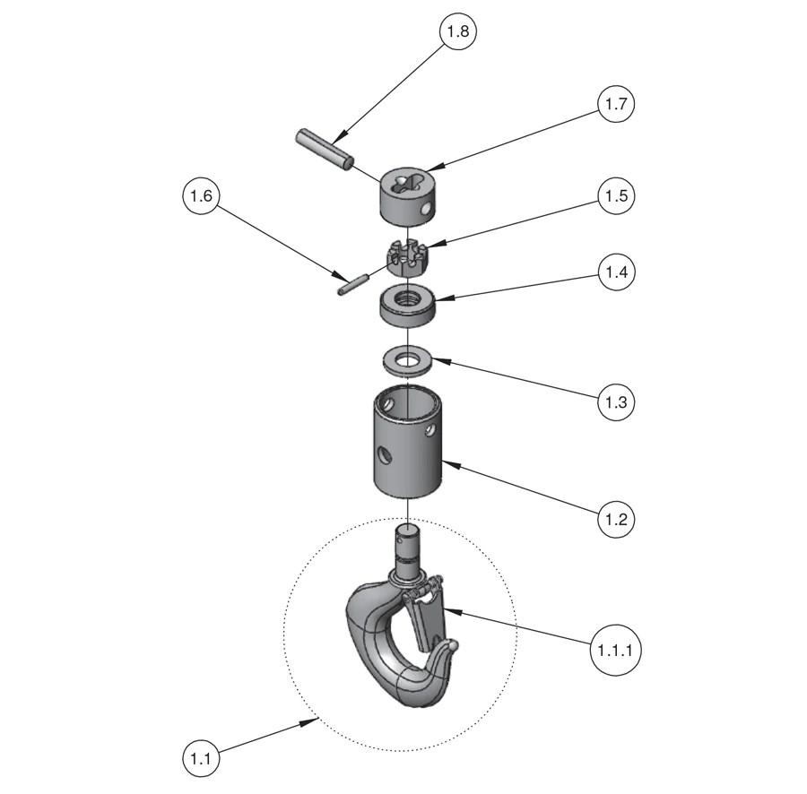 medium resolution of next gen lodestar hoist parts large frame lower hook block j