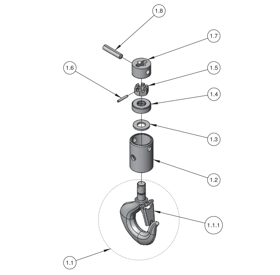 small resolution of next gen lodestar hoist parts large frame lower hook block j