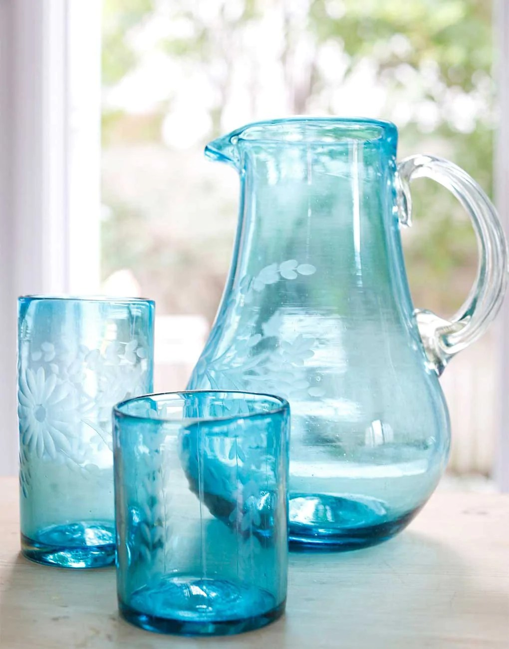 Hand Etched Recycled Round Glass Pitcher Fair Trade