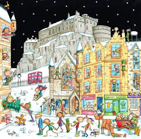 Edinburgh Castle From The Grassmarket Pack Of 6 Christmas