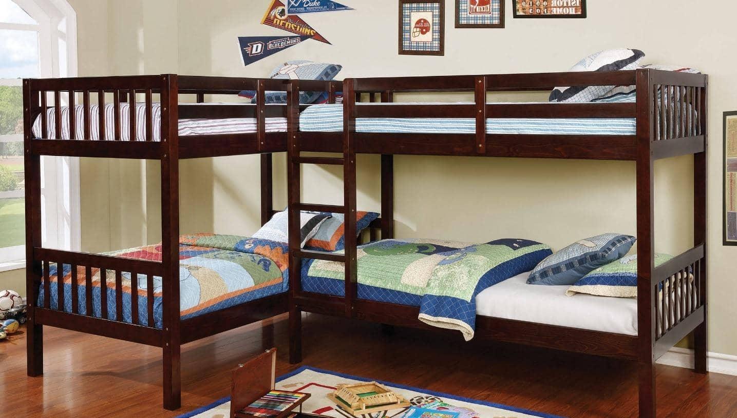 Hannah Cappuccino Corner Quadruple Bunk Bed