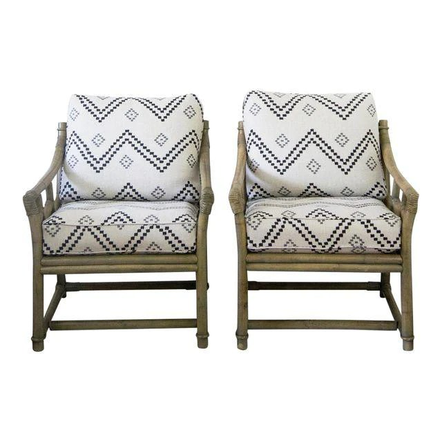 at home chairs chair with built in bookshelf vintage ficks reed lounge peter dunham fabric a pair