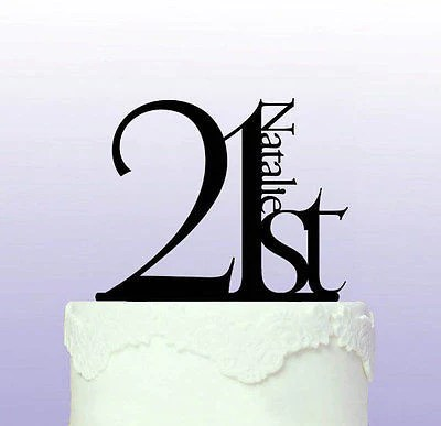 Elegant 21st Birthday Cake Topper Personalised Cake Toppers