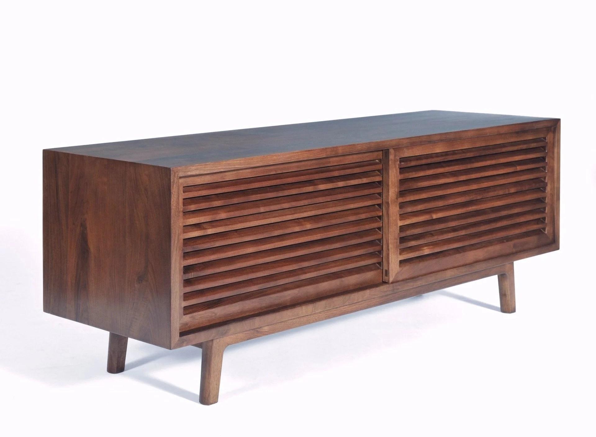 Lewis Solid Walnut Mid Century Modern Tv Cabinet Gingko Gingko Home Furnishings