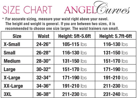 Angel curves size chart gym waist trainer purple also rh angelcurves