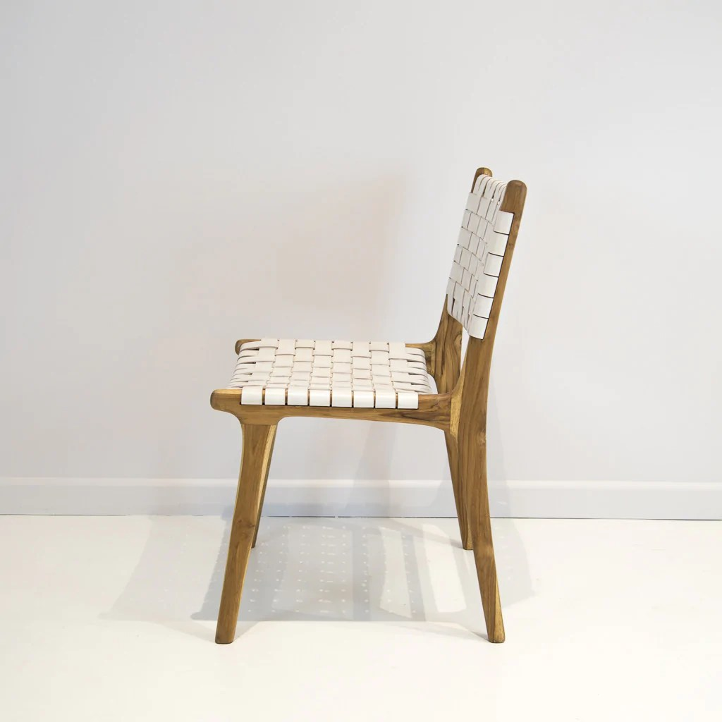 Woven Dining Chair White Leather Weave Dining Chair
