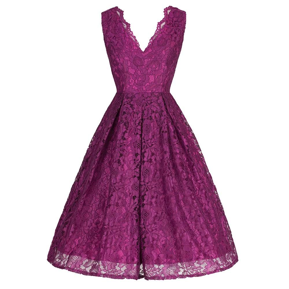 Purple Stunning Lace Embroidered Dress - Pretty Kitty Fashion